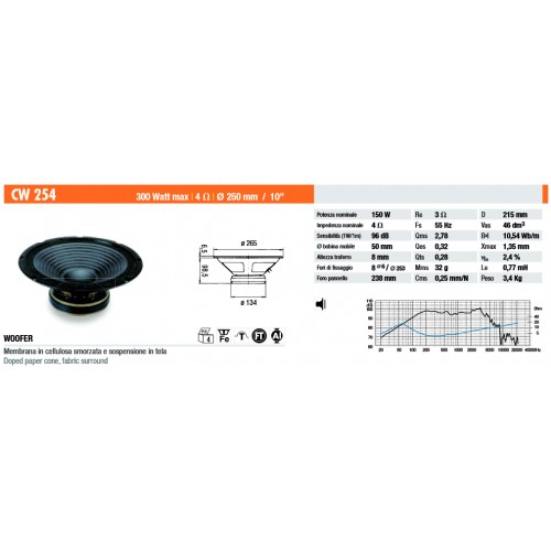 CW254 woofer car speaker Ciare 300W max, 4 Ohm, diameter 250 mm
