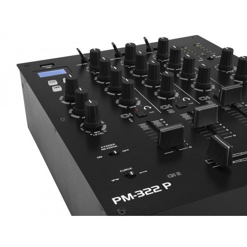 OMNITRONIC PM322P 3-Channel DJ Mixer with Bluetooth+USB mo3-Player