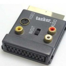 Adapter Tasker 443 Scart 21 pin to 3 RCA+S VHS+Scart 21 pin